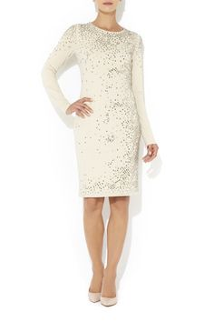 Nude All Over Beaded Dress