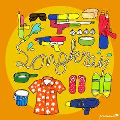 prop for songkran's day #illustration #illustrator #drawing #draw #design #artwork #illus #line #color