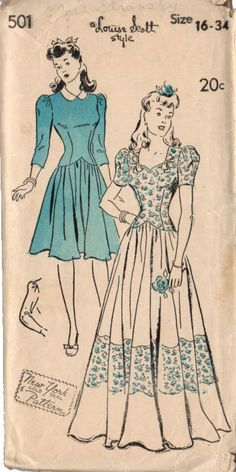 Vintage Original 1940s New York Pattern, Louise Scott Style Ladies' and Misses' Basque Dress Sewing pattern in two lengths. High neck with slashed opening at back of neck, attached collar in two secti