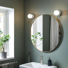 "LINDBYN Mirror, gold, 311/2"" - IKEA Gold Circle Mirror, Ikea Bath, Ikea Family, Ikea Home, Ikea Storage, Beautiful Mirrors, Upstairs Bathrooms, Bathroom Renos, Houses"