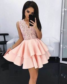 2018 Light Pink Ball Gown Homecoming Dresses V Neck Sleeveless Lace Bodice Mini Short Cocktail Dress Prom Dress Party Gowns Vestidos Pink Prom Dresses, Homecoming Dresses, Sexy Dresses, Evening Dresses, Formal Dresses, Dresses Uk, Ribbed Knit Dress, Tube Dress, Party Gowns
