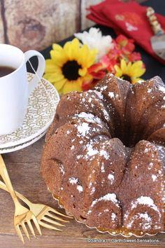 White Chocolate Chai Pumpkin Bundt Cake ~ #BundtBakers Pumpkin Bundt Cake, Chai, White Chocolate, Muffin, Breakfast, Sweet, Food, Recipes, Morning Coffee