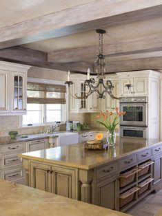 White French Country Kitchens Cabinet, Beams U0026 Baskets On Island
