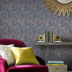 Graham & Brown Tropical Aegean Floral Wallpaper - House of Fraser Metallic Wallpaper, Modern Wallpaper, Wallpaper Roll, Wallpaper Designs, Metallic Cushions, Wallpaper Please, Bleu Pastel, Pastel Colour Palette, Tropical Wallpaper