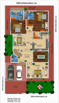 [ Front Elevation Kanal House Drawing Floor Plans Layout Square Yards And Plan Home Kerala ] - Best Free Home Design Idea & Inspiration 3d House Plans, Indian House Plans, House Layout Plans, Duplex House Plans, Floor Plan Layout, Best House Plans, Dream House Plans, Modern House Plans, House Layouts