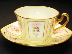 Minton Antique Rose ROSE Roses  Ribbons  Tea cup and saucer