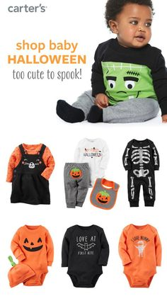 Shop baby girl and baby boy Halloween bodysuits, sets and accessories.
