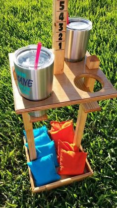 Cornhole Score Tower / Drink Holder / Bag Caddy Co Diy Yard Games, Diy Games, Backyard Games, Backyard Projects, Outdoor Projects, Outdoor Games, Wood Projects, Woodworking Projects, Lawn Games