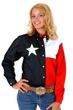 Roper Womens Texas Navy Blue 100% Cotton L/S Western Star Flag Shirt