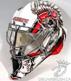 Ray Emery's iconic new Blackhawks mask – and one that almost was Blackhawks Hockey, Hockey Goalie, Hockey Teams, Chicago Blackhawks, Hockey Players, Ice Hockey, Sports Teams, Montreal Canadiens, Hockey Helmet