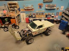 AMT '61 Ranchero, built into a off-road vehicle, using NASCAR parts, and wheels and tires from a 1/64 scale Monster truck.