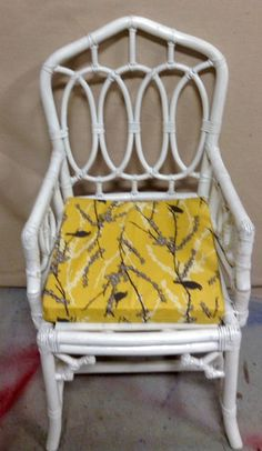 Vintage white Chippendale style indoor outdoor rattan chair $145 each