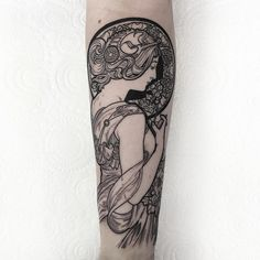 "1,023 Likes, 17 Comments - T H O M A S B A T E S (@thomasbatestattoo) on Instagram: ""Always fun tattooing an Alphonse Mucha piece. Thankyou Katharine. #tattoo #fineline #etching…"""