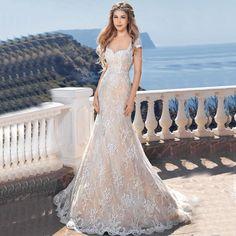 Bruidsjurk romantische a lijn stijl gemaakt van mooi kant