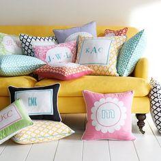 Monogrammed pillows using heat transfer vinyl