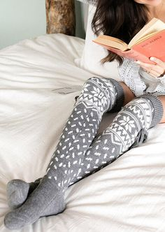 Warm Over Knee Knitting Christmas Socks the best Online Clothing Shopping Boutiques, get the latest fashion clothing online # Over Knee Socks, Thigh High Socks, Thigh Highs, Warm Socks, Christmas Knitting, Dresses With Leggings, Thighs, Stockings, Christmas Accessories