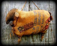 Primitive Folk Art Americana Grungy Canvas Sack Sheep, Handcrafted, Vintage, Patriotic, OOAK, Rag Stuffed, Farmhouse, FAAP, Hafair Team by MeadowForkPrims on Etsy