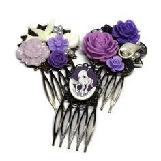 Purple Combs-Set of Combs-Bridal Combs-Bridesmaid Comb-Unicorn Clip- Purple Prom-Prom Hair-Formal Hair Combs-Wedding Hair Slide Bridal Comb, Hair Comb Wedding, Formal Hairstyles, Wedding Hairstyles, Handmade Accessories, Hair Accessories, Hair Slide, Looking Stunning, Prom Hair