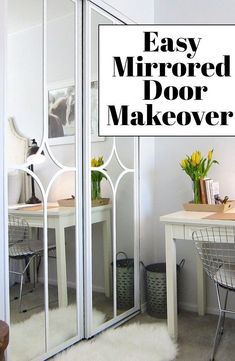 Mirrored Sliding Closet Door Makeover - You won't believe how easy it is! Ideas for your closet doors Closet Door Makeover, Mirror Makeover, Staircase Makeover, Garage Makeover, Mirror Closet Doors, Mirror Door, Diy Closet Doors, Mirror House, Wall Mirrors