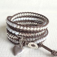 White and Silver Leather Wrap Bracelet - WHITNEY-  Brown Leather, Five Wraps on Etsy