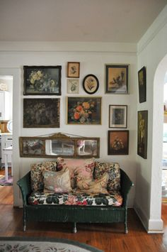 Love wicker couch...i love all the pictures, wall to wall.  That's what my living room will look like!