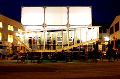 CIRCUS FOR CONSTRUCTION Circus for Construction is a traveling event space situated on the back of a truck for exhibiting and experiencing works of art and architecture.