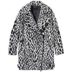 Pre-owned Banana Republic New Spotted Animal Print Wool Moto Cocoon... ($151) ❤ liked on Polyvore featuring outerwear, coats, black and white, woolen coat, oversized wool coat, wool coat, long sleeve coat and black and white fur coat