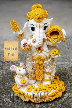 (Made to Order) Finished doll ✿ size 12.5 inches Lord Ganesha with Musika Product is made to order, will begin work on the doll as soon as the payment comes in. The time needed to make the doll should be around 1 to 2 weeks (and can also vary on the queue number of the order) you can always follow the progress by asking me on my messenger.  100% Handmade Made from silk yarn & polyester wires are inside so you can move the arms. ✿ Finished size 12.5 inches *colors may differ from the picture…