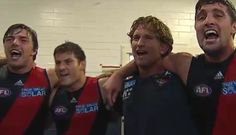Ben howlett and James hird singing the song after the game