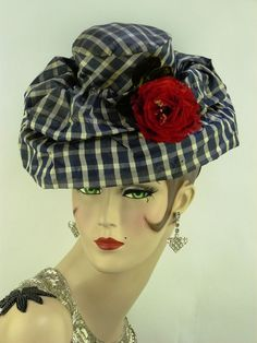 VINTAGE HAT 1930s FRENCH, SILK BLUE & WHITE CHECK TILT HAT w RED FEATHER FLOWER