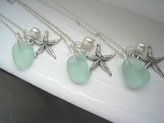Starfish and Aqua Sea Glass Necklace. Tiffany Blue Beach Wedding. Beach Wedding. $25.00, via Etsy.