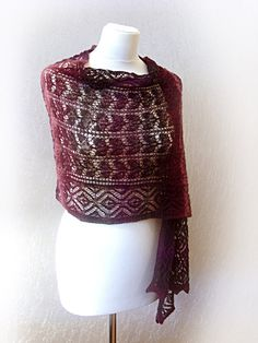 Alpine morning hand knitted shawl/stole,Colour:blackberry. $110.00, via Etsy.