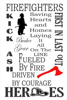 firefighters stencil, fireman, heroes, gift for him, for her, fire, bunker, man cave, department, diy, craft supply, supplies, reusable,