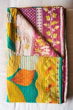 Hand-Stitched Kantha Gudri Throw Blanket 026