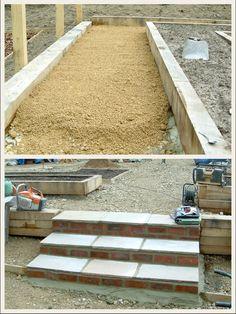 Self binding gravel / Hoggin path + steps idea Gravel Path, Gravel Garden, Garden Steps, Garden Paths, Backyard Landscaping, Backyard Ideas, Landscape Design, Garden Design, Garden Floor