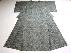 Japanese Antique Kimono Silk Black Gray P071011   eBay