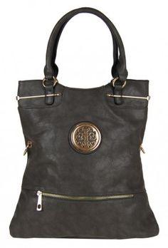 Moderní kabelka do ruky se zlatými doplňky C005 tmavě šedá - Kliknutím zobrazíte detail obrázku.