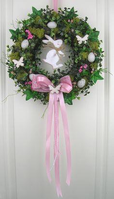 Osterkranz rosa Frühlingskranz Türkranz Shabby  von My Home Fashion auf DaWanda.com