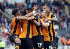Hull City striker Abel Hernandez is congratulated after scoring against Blackburn Rovers in Saturdays Championship draw at the KC Stadium (Picture: Simon Hulme). Blackburn Rovers, Hull City, Blame, England, Football, Draw, Feelings, Sports, Soccer