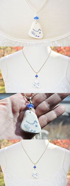 Beach Glass - Surf-Tumbled 41221: Sea Glass Jewelry Beach Tumbled Pottery Necklace W Matching Cornflower 9131C -> BUY IT NOW ONLY: $41.99 on eBay!