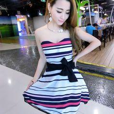 $20.46–$20.76 Summer Sexy Backless Stripe #Strapless #MiniDress