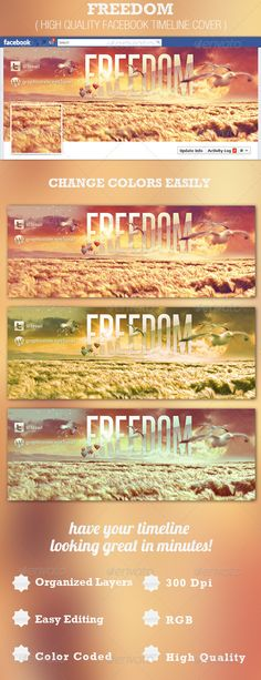 This Freedom Facebook Timeline Cover Template is great for any Facebook page that is updated to the new Timeline feature. - Price $3.00