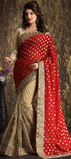 159753, Party Wear Sarees, Embroidered Sarees, Net, Jacquard, Viscose, Stone, Zari, Border, Lace, Machine Embroidery, Red and Maroon, Beige and Brown Color Family
