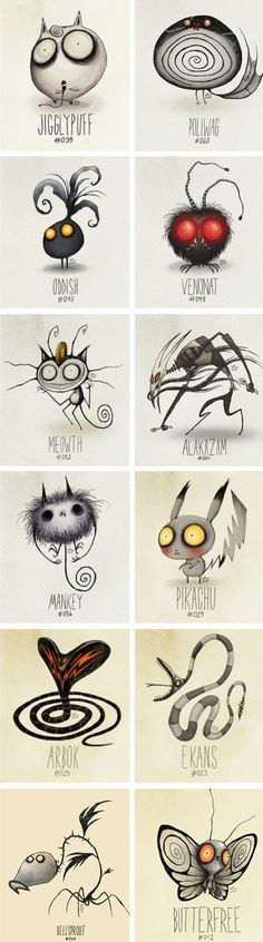 Pokemon by Tim Burton Arte Tim Burton, Tim Burton Stil, Tim Burton Kunst, Tim Burton Art Style, Tim Burton Artwork, Tim Burton Drawings Style, Tim Burton Sketches, Creation Art, Arte Horror