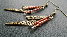 Harry Potter inspired earrings with lightening bolts and gold and red seed beads to support Gryffindor!  The earring hooks are nickel free.  The