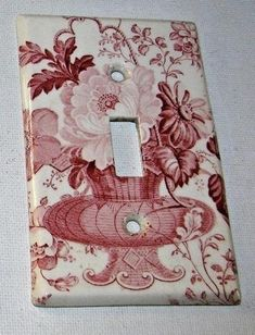 RARE Red Transferware Single Light Switch Plate Charlotte Basket of Roses and Flowers