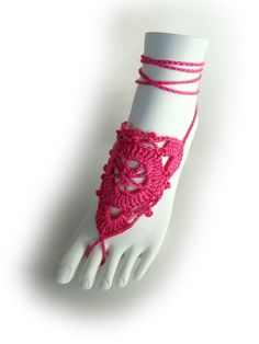 Hot Pink Lace Barefoot Sandals or 23 different by VividBear