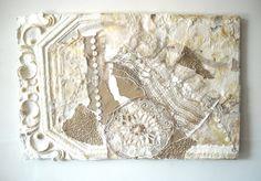 Cottage Chic Decor White Fiber Art Work Mixed by ThresholdPaperArt