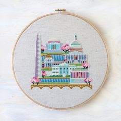Pretty Little Washington DC - Modern Cross Stitch Pattern PDF - Instant download