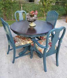 Blue Gray Painted Furniture Teal 53 New Ideas Gray Painted Furniture, Refurbished Furniture, Paint Furniture, Upcycled Furniture, Dining Furniture, Furniture Projects, Furniture Plans, Furniture Makeover, Furniture Movers